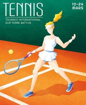 Tournoi Championship Tennis Woman Man International Sport Tournament Affiche Poster Magazine Presse Illustrateur Illustration Lionel Darian